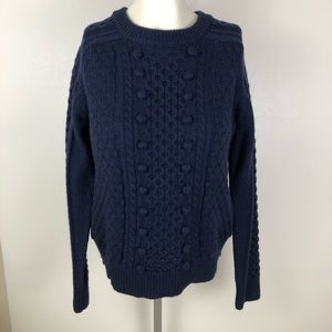J. Crew Wool Blend Popcorn Cable Knit Sweater